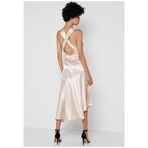 TOPSHOP Asymmetric Ruffle Belted Satin Dress